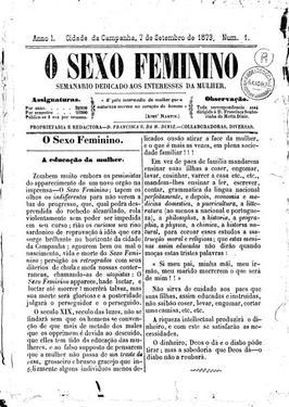 Fac-símle da primeira página da edição inaugural de O sexo feminino, de 1873